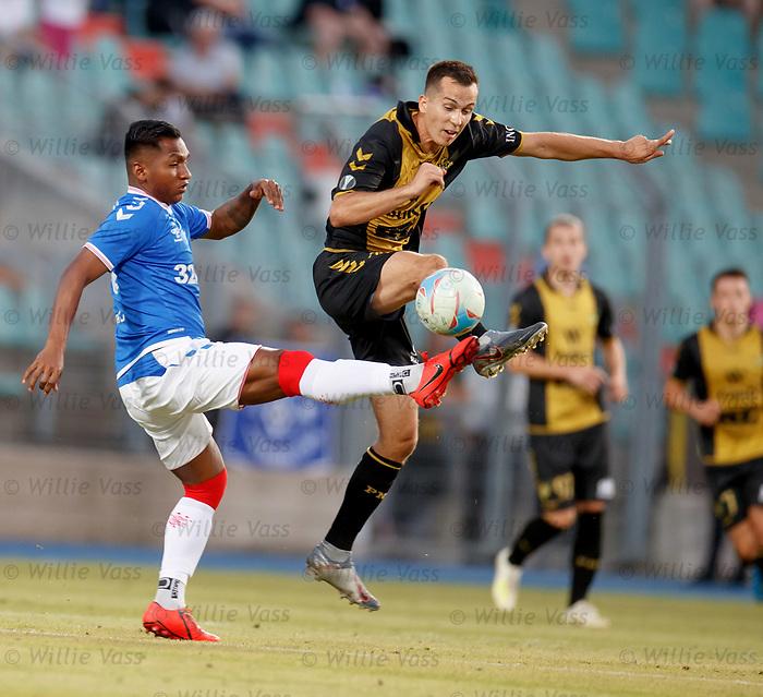 01.08.2019 Progres Niederkorn v Rangers: Alfredo Morelos and Christian Salaj
