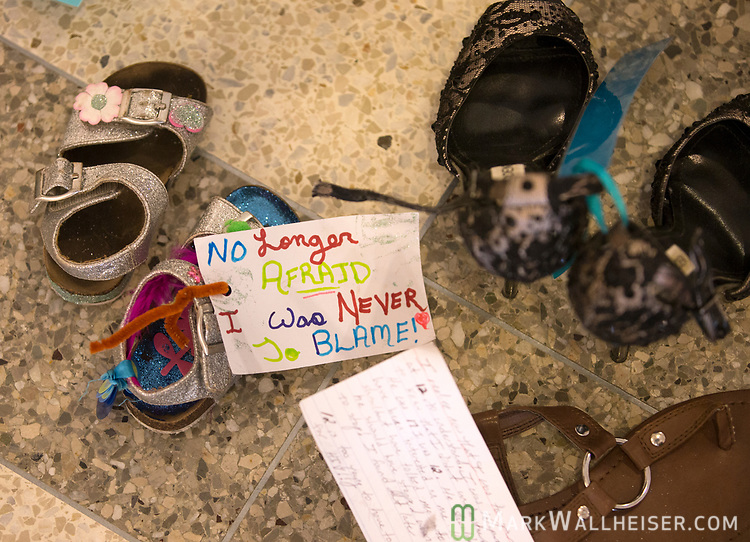 Part of a display of 1,000 shoes of victims of sexual violence on display at the Florida Capitol in Tallahassee, Florida for Sexual Assault Awareness Month.  The display is hosted by Lauren's Kids and the Florida Council Against Sexual Violence.