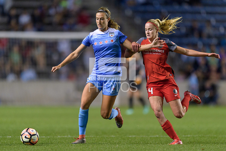 Bridgeview, IL - Saturday August 12, 2017: Katie Naughton, Emily Menges during a regular season National Women's Soccer League (NWSL) match between the Chicago Red Stars and the Portland Thorns FC at Toyota Park. Portland won 3-2.