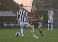 Kenny McLean shields the ball from Robbie Crawford in the St Mirren v Ayr United Scottish Communities League Cup match played at St Mirren Park, Paisley on 29.8.12.