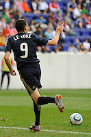 Sebastien Le Toux (9) of the Philadelphia Union celebrates scoring. The New York Red Bulls defeated the Philadelphia Union 2-1 during a Major League Soccer (MLS) match at Red Bull Arena in Harrison, NJ, on April 24, 2010.