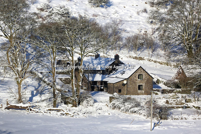 Pictured: A snow covered farm near Penderyn in the Brecon Beacons, Wales, UK. Monday 11 December 2017<br /> Re: Freezing temperatures, snow and ice has affected parts of the UK.