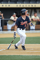 Jake McCarthy (31) of the Virginia Cavaliers follows through on his swing against the Wake Forest Demon Deacons at David F. Couch Ballpark on May 19, 2018 in  Winston-Salem, North Carolina. The Demon Deacons defeated the Cavaliers 18-12. (Brian Westerholt/Four Seam Images)