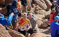 August 19, 2017 - Colorado Springs, Colorado, U.S. -  Japan's, Hayato Yanagisawa, and Colorado's, Ryan McMullen, race through the final boulder field of the 62nd running of the Pikes Peak Ascent.  The Ascent is a full half-marathon gaining over 7800 feet in elevation to reach the summit at 14,115 feet.  Mountain runners from around the world converge on Pikes Peak for two days of racing on America's Mountain in Colorado Springs, Colorado.