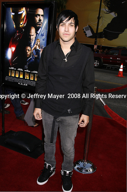 """Musician Pete Wentz arrives to the """"Iron Man"""" premiere at Grauman's Chinese Theatre on April 30, 2008 in Hollywood, California."""