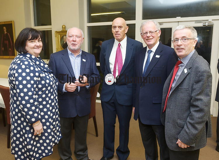Carmel Honan, current Principal. St. Flannan's College with Frank Ryan,  England, Kevin Merry, USA, and John O Connell, England, and Paddy Mc Kenna, England, at the 50th reunion of the St Flannan's College 1966  Leaving Cert class. Photograph by John Kelly.