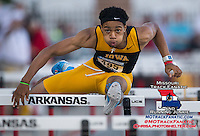 Iowa's Aaron Mallett runs the 110 meter hurdles at the NCAA Track and Field West Preliminary Saturday, May 31, 2014 at John McDonnell Field on the campus of the University of Arkansas.  (Brian Ray/hawkeyesports.com)