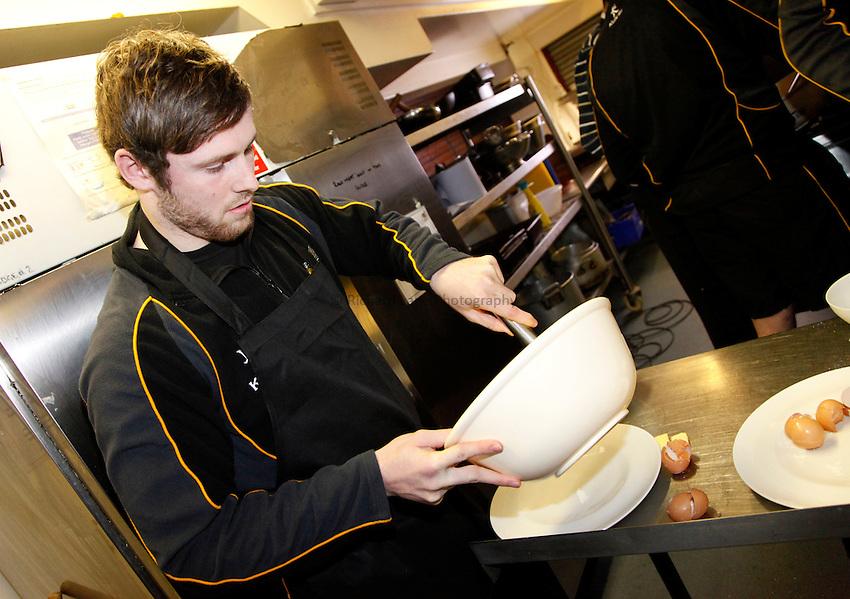 Photo: Richard Lane/Richard Lane Photography. London Wasps Shrove Tuesday Pancake Making Comptition. 12/02/2013. Elliot Daly.
