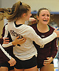 Noelle Bryggman #9 of Whitman, right, celebrates with Maelyn Latko #1 and teammates after drilling a successful spike in a non-league varsity girls volleyball match against Centereach at New York Institute of Technology in Old Westbury on Wednesday, Sept. 20, 2017. Whitman rallied from a two-set deficit to win 21-25, 16-25, 25-16, 25-22, 25-19.