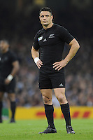 Dan Carter of New Zealand looks on during Match 23 of the Rugby World Cup 2015 between New Zealand and Georgia - 02/10/2015 - Millennium Stadium, Cardiff<br /> Mandatory Credit: Rob Munro/Stewart Communications