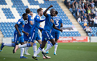 Theo Robinson of Colchester United celebrates the equalising goal scored by Tom Eastman of Colchester United during Colchester United vs Stevenage, Sky Bet EFL League 2 Football at the JobServe Community Stadium on 5th October 2019