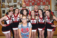 RICK PECK/SPECIAL TO MCDONALD COUNTY PRESS<br /> McDonald County High School recognized senior members of the Mustang cheerleaders and MC Pom on Feb. 21 at MCHS. Front row is Erin Wolfe (MC Pom); (middle, left), Brooklynne Cooper, Bailey Barrett, Josalyn Banta, Kitrell Henighen, Madison Smith and Caitlyn Stouder; and (back, left), John Gordon, Elliott Wolfe, Dylan Akins and Tanner Harnar.