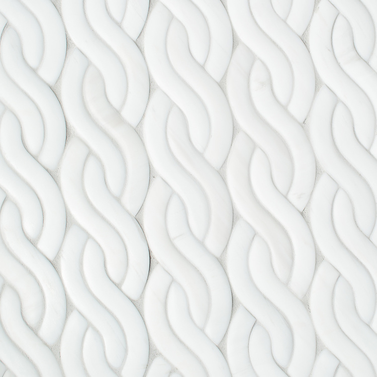 Cable Knit Large, a waterjet stone mosaic, shown in Venetian honed Dolomite, is part of the Palazzo™ collection by New Ravenna.