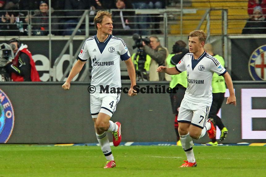 Benedikt Höwedes (Schalke) jubelt über sein Tor zum 3:3 - Eintracht Frankfurt vs. FC Schalke 04, Commerzbank Arena