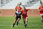 Estelle Laurier (10) of the Wake Forest Demon Deacons battles for the ball with Abigail Mitchell (14) of the Clemson Tigers during second half action at Riggs Field on October 22 2017 in Clemson, South Carolina.  The Tigers defeated the Demon Deacons 2-1. (Brian Westerholt/Sports On Film)