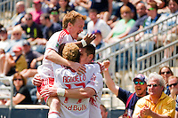 Kenny Cooper (33) of the New York Red Bulls celebrates scoring the game winning goal with Dax McCarty (11) and Juan Agudelo (17). The New York Red Bulls defeated the Philadelphia Union  3-2 during a Major League Soccer (MLS) match at PPL Park in Chester, PA, on May 13, 2012.
