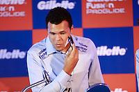 ATENÇÃO EDITOR: FOTO EMBARGADA PARA VEÍCULOS INTERNACIONAIS. SAO PAULO, SP, 06 DE DEZEMBRO DE 2012. APRESENTAÇÃO DO TORNEIO GILLETTE FEDERER TOUR.  o tenista Jo-Wilfried Tsonga durante a apresentação do novo torneio Gillette Federer Tour,  na manhã desta quinta feira na zona sul da capital paulista. O Gillette Federer Tour reunirá, durante quatro dias, o melhor do tênis mundial, no Ginásio do Ibirapuera, de 6 a 9 de dezembro, com a participação de grandes estrelas como Roger Federer, Tommy Haas, Thomaz Bellucci, Jo-Wilfried Tsonga, Tommy Robredo, Victoria Azarenka, Maria Sharapova, Serena Williams, Caroline Wozniacki, Bob e Mike Bryan e Marcelo Melo e Bruno Soares.  FOTO ADRIANA SPACA - BRAZIL PHOTO PRESS