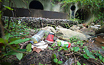 Trash on the banks  of a stream where three storm water drains from the area around the intersection of Route 2 and Forest Drive in Parole empty and soon lead to the Severn River.