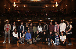 "Roddy Kennedy with student performers on stage during The Rockefeller Foundation and The Gilder Lehrman Institute of American History sponsored High School student #eduHam matinee performance of ""Hamilton"" Q & A at the Richard Rodgers Theatre on November 7, 2018 in New York City."