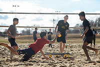 NWA Democrat-Gazette/CHARLIE KAIJO Josh Bruce, 16, of Centerton; Orion O&acirc;&euro;&trade;Connor, 17, of Bentonville; Noah Blake, 16, of Bentonville and Giovanni Alawdi, 15, of Bentonville (from left) plays spike ball during a spike ball tournament, Monday, January 7, 2019 at Memorial Park in Bentonville. <br />