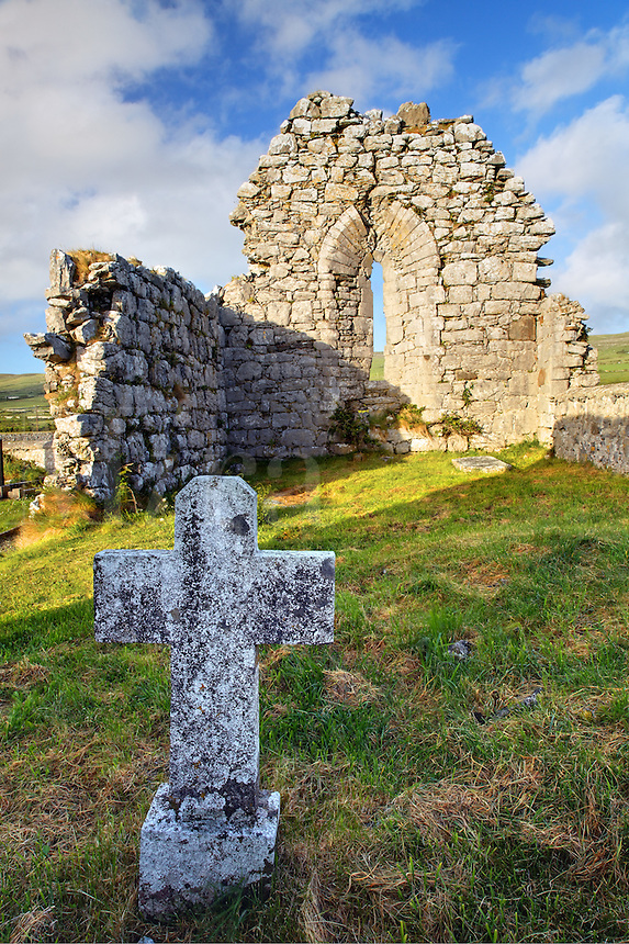Remains of ruined Killonaghan Church, Fenore Beg, Black Head, The Burren, County Clare, Republic of Ireland