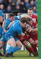 12th January 2020; RDS Arena, Dublin, Leinster, Ireland; Heineken Champions Champions Cup Rugby, Leinster versus Lyon Olympique Universitaire; Lyon drive towards the line to score a try - Editorial Use