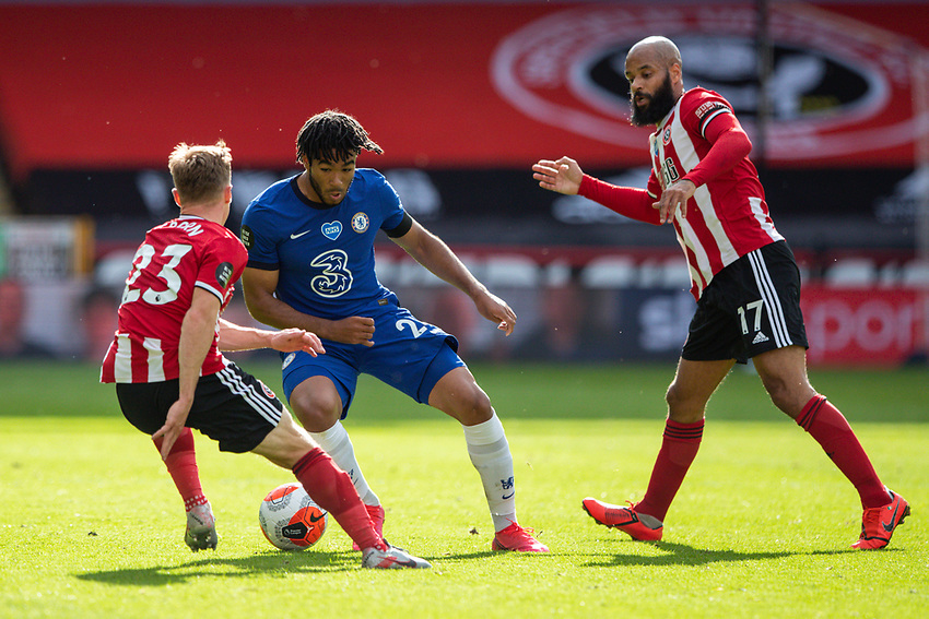 Chelsea's Reece James takes on Sheffield United's Ben Osborn and David McGoldrick <br /> <br /> Photographer Alex Dodd/CameraSport<br /> <br /> The Premier League - Sheffield United v Chelsea - Saturday 11th July 2020 - Bramall Lane - Sheffield<br /> <br /> World Copyright © 2020 CameraSport. All rights reserved. 43 Linden Ave. Countesthorpe. Leicester. England. LE8 5PG - Tel: +44 (0) 116 277 4147 - admin@camerasport.com - www.camerasport.com