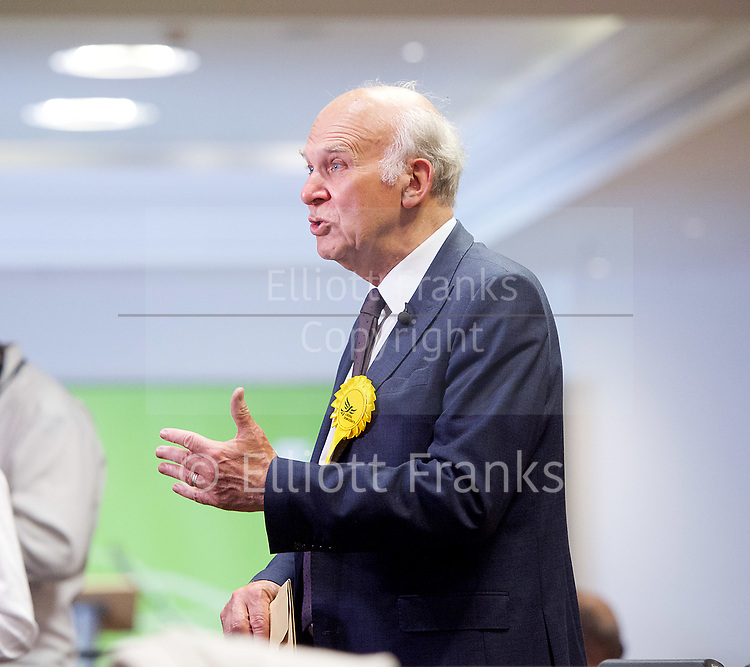 General Election count for the Twickenham &amp; Richmond Park constituencies at the Twickenham Rugby Stadium, Twickenham, Middlesex, Great Britain <br /> 8th June 2017 <br /> <br /> Vince Cable <br /> wins the Twickenham seat <br /> <br /> <br /> Photograph by Elliott Franks <br /> Image licensed to Elliott Franks Photography Services