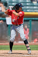 Anthony Phillips (18) of the Albuquerque Isotopes bats against the Salt Lake Bees at Smith's Ballpark on April 22, 2018 in Salt Lake City, Utah. The Bees defeated the Isotopes 11-9. (Stephen Smith/Four Seam Images)