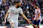 Karim Benzema of Real Madrid celebrates goal during La Liga match between Real Madrid and Atletico de Madrid at Santiago Bernabeu Stadium in Madrid, Spain. February 01, 2020. (ALTERPHOTOS/A. Perez Meca)
