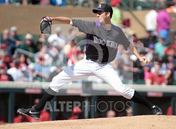 Francis Jeff pircher of Rockies    ,during   Colorado Rockies vs Arizona Diamondbacks, game of  Cactus league and Spring Trainig 2013..Salt River Fields stadium in Arizona. February 24, 2013