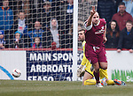 Paul McManus scores for Arbroath past Rangers keeper Cammy Bell and celebrates