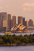 The skyline of Sydney featuring the Sydney Opera House seen from the Taronga Zoo, Sydney Harbor, Sydney, New South Wales, Australia