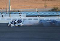 Feb 7, 2009; Daytona Beach, FL, USA; ARCA RE/MAX Series driver Bobby Gerhart (5) crashes after blowing a tire during the Lucas Oil Slick Mist 200 at Daytona International Speedway. Mandatory Credit: Mark J. Rebilas-