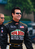 Jun 2, 2018; Joliet, IL, USA; Papa Johns Pizza chairman/CEO John Schnatter in attendance of NHRA qualifying for the Route 66 Nationals at Route 66 Raceway. Mandatory Credit: Mark J. Rebilas-USA TODAY Sports
