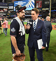 HOUSTON - OCTOBER 30: Tom Verducci talks to Anthony Rendon following World Series Game 7: Washington Nationals at Houston Astros on Fox Sports at Minute Maid Park on October 30, 2019 in Houston, Texas. (Photo by Frank Micelotta/Fox Sports/PictureGroup)