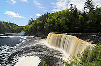 A summertime view of Upper Tahquamenon Falls in Paradise, MI.