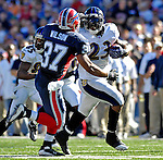 21 October 2007: Baltimore Ravens running back  Willis McGahee rushes for a 46 yard touchdown run against the Buffalo Bills at Ralph Wilson Stadium in Orchard Park, NY. The Bills defeated the Ravens 19-14 in front of 70,727 fans marking their second win of the 2007 season...Mandatory Photo Credit: Ed Wolfstein Photo