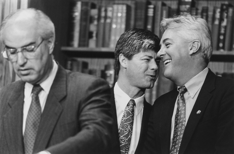 Rep. Jim Ross Lightfoot, R-Iowa, Rep. Bart Stupak, D-Mich., and Rep. Jack Quinn, R-N.Y., at a press conference announcing the formation of the Law Enforcement Caucus on April 13, 1994. (Photo by Chris Martin/CQ Roll Call)