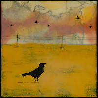 Encaustic painting with photography and mixed media of lone crow in golden field with map