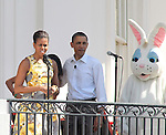 First Lady Michelle Obama and U.S. President Barack Obama welcome participants to the 2011 White House Easter Egg Roll in Washington D.C.  April 25, 2011..Copyright EML/Rockinexposures.com.