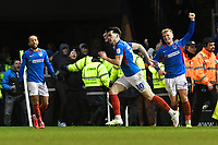 Portsmouth players celebrate the winning goal scored by John Marquis of Portsmouth centre during Portsmouth vs Exeter City, Leasing.com Trophy Football at Fratton Park on 18th February 2020