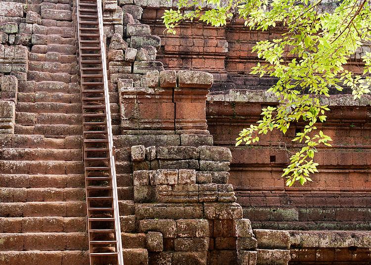 Phimeanakas Temple Steps - Steep steps up the Phimeanakas Temple, Angkor Thom, Cambodia.