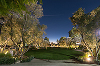 The main entrance to Occidental College, Mullin Entrance, at night, Nov. 5, 2015, Los Angeles, Calif.<br /> (Photo by Marc Campos, Occidental College Photographer)