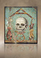 "Roman mosaic of a skull called ""Mimento Mori"" from Pompeii, inv 100982, Naples National Archeological Museum,  Art background"
