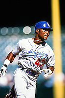 Trenidad Hubbard of the Los Angeles Dodgers during a game against the Anaheim Angels at Angel Stadium circa 1999 in Anaheim, California. (Larry Goren/Four Seam Images)