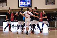 STANFORD, CA - January 2, 2018: Jake Stuebner, Russell Dervay, Eric Beatty, Eli Wopat, Jacob Thoenen at Burnham Pavilion. The Stanford Cardinal defeated the Calgary Dinos 3-1.