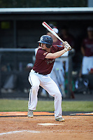 Luke Nelson (4) of Kannapolis Post 115 at bat against Mooresville Post 66 during an American Legion baseball game at Northwest Cabarrus High School on May 30, 2019 in Concord, North Carolina. Mooresville Post 66 defeated Kannapolis Post 115 4-3. (Brian Westerholt/Four Seam Images)