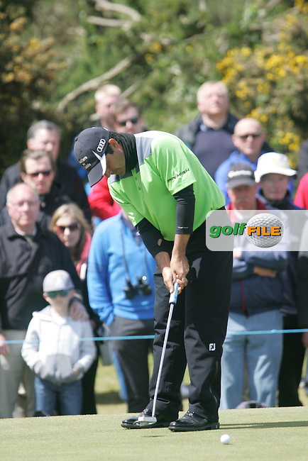 Felipe AGUILAR (CHI) on the 16th green during the final round of the 2015 Dubai Duty Free Irish Open hosted by the Rory Foundation, Royal County Down Golf Club, Newcastle Co Down, Northern Ireland. 31/05/2015<br /> Picture TJ Caffrey, www.golffile.ie
