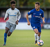 Eden Hazard of Chelsea battles Beni Banningime loo Everton during the U23 Premier League 2 match between Chelsea and Everton at the EBB Stadium, Aldershot, England on 25 August 2017. Photo by Andy Rowland.